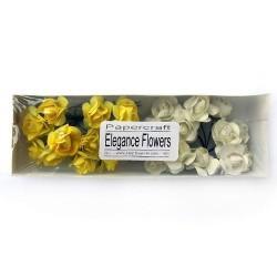 Хартиени обемни цветя Elegance flowers - жълто и бяло, 24 бр.