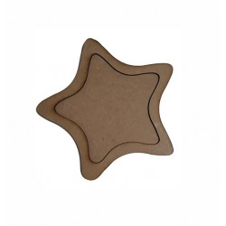 Дървена рамка за декорации Звезда овал 17 см.