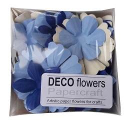 """Релефни хартиени цветя 40 бр. - """"Небесно синьо"""""""