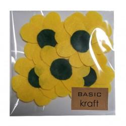 Филц цветя Жълти - 6 бр. големи