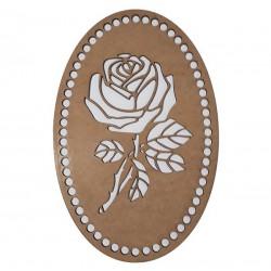 Дървена основа за плетене и кроше 26/17 см - Роза