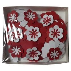 Хартиени цветя Bloom 21 бр. - Големи микс Червено и бяло
