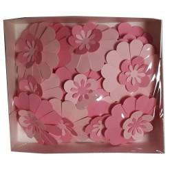 Хартиени цветя Bloom 21 бр. - Големи микс Розово