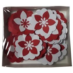 Хартиени цветя Sentiment 21 бр. - Големи микс Червено и бяло